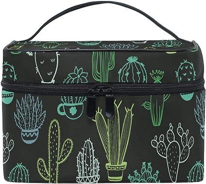 Arte Negro Cactus Organizador Bolsa de Cosméticos Bolsas Neceseres de Maquillaje Estuche de Aseo de Tocador para Mujeres Señoras Niñas: Amazon.es: Belleza