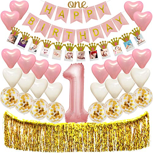 "1st Birthday Decorations for Girls , Baby First Pink and Gold Birthday Theme Party Supplies /Giant NO.1 Foil Balloon Happy Birthday Banner""One""Cake Topper Gold Confetti Heart Balloons Fringe Curtain TD030 -"