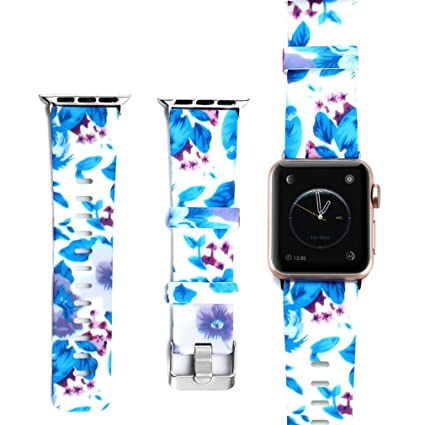 06873ff12 Outsta for Apple Smart Watch Series 1/2/3 Watch Band,Fashion Print Silicone  Replacement Watch Strap Bracelet Accessories Smart Watch Band Women Men(S:38mm  ...