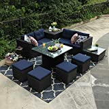 PHI VILLA 9 Piece Outdoor Furniture Sectional Patio Sofa Dining Set with Cushion Box Storage Review