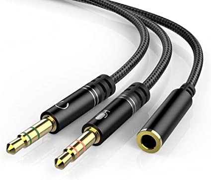 KOOPAO Headset 3.5mm Female to 2 Dual Male Microphone Audio Stereo Jack Earphones Port to Gaming Speaker PC Adapter Headphone 3.5mm Splitter Mic Cable for Computer