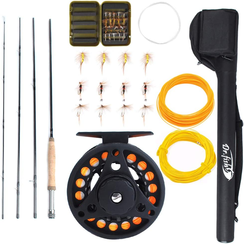 Amazon Com Dr Fish Fly Fishing Rod Reel Combos 9ft 5 6wt 19 In 1 Prespooled Compelet Starter Package Outfit Kit With Backing Flies Fly Box Taper Leader Sports Outdoors