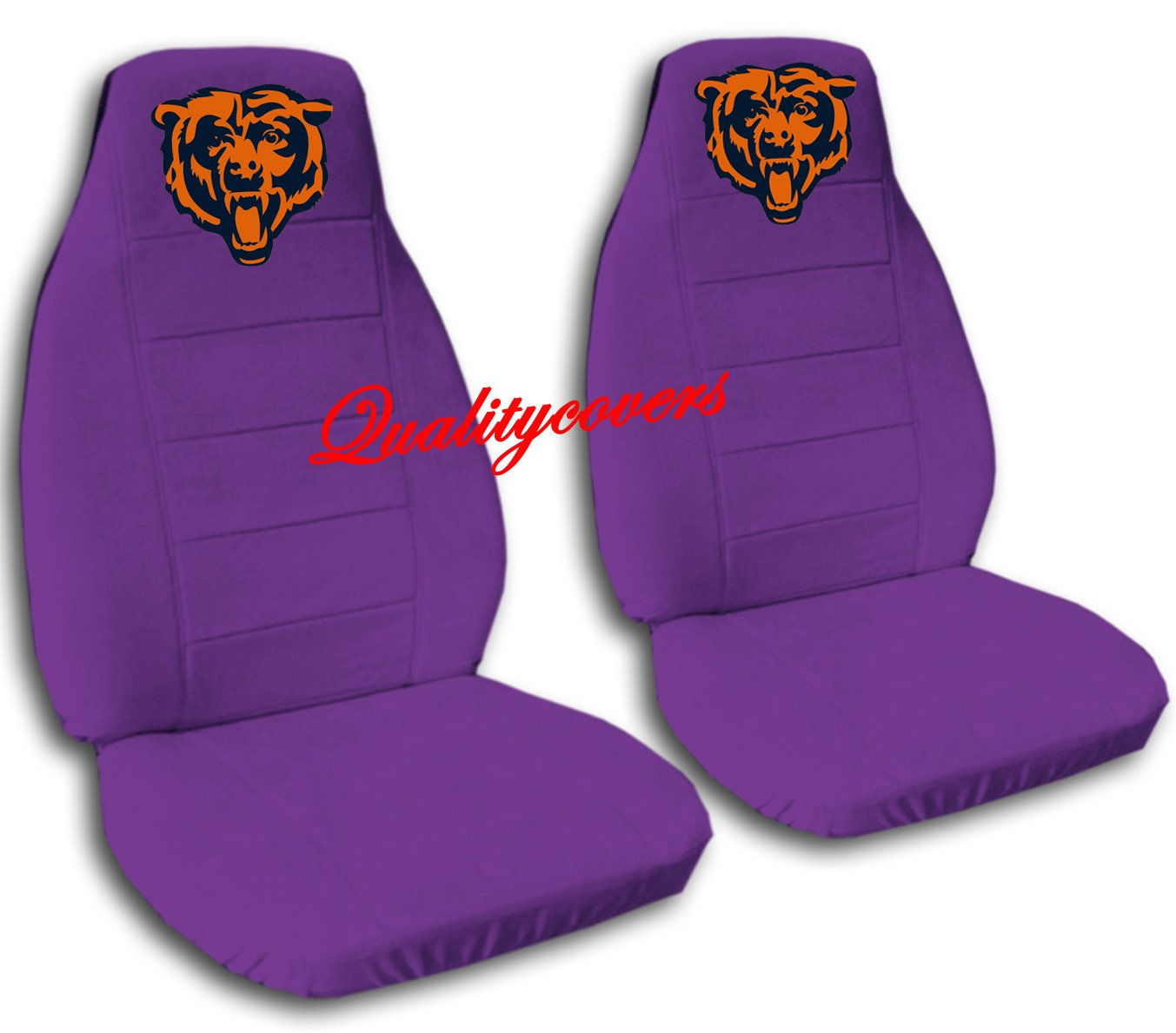 2 Purple Chicago seat covers for a 2007 to 2012 Ford Fusion. Side airbag friendly.