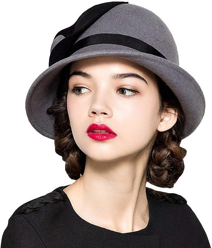 Gorros Sombrero De Fieltro para Mujer Elegante Sombrero Flores ...