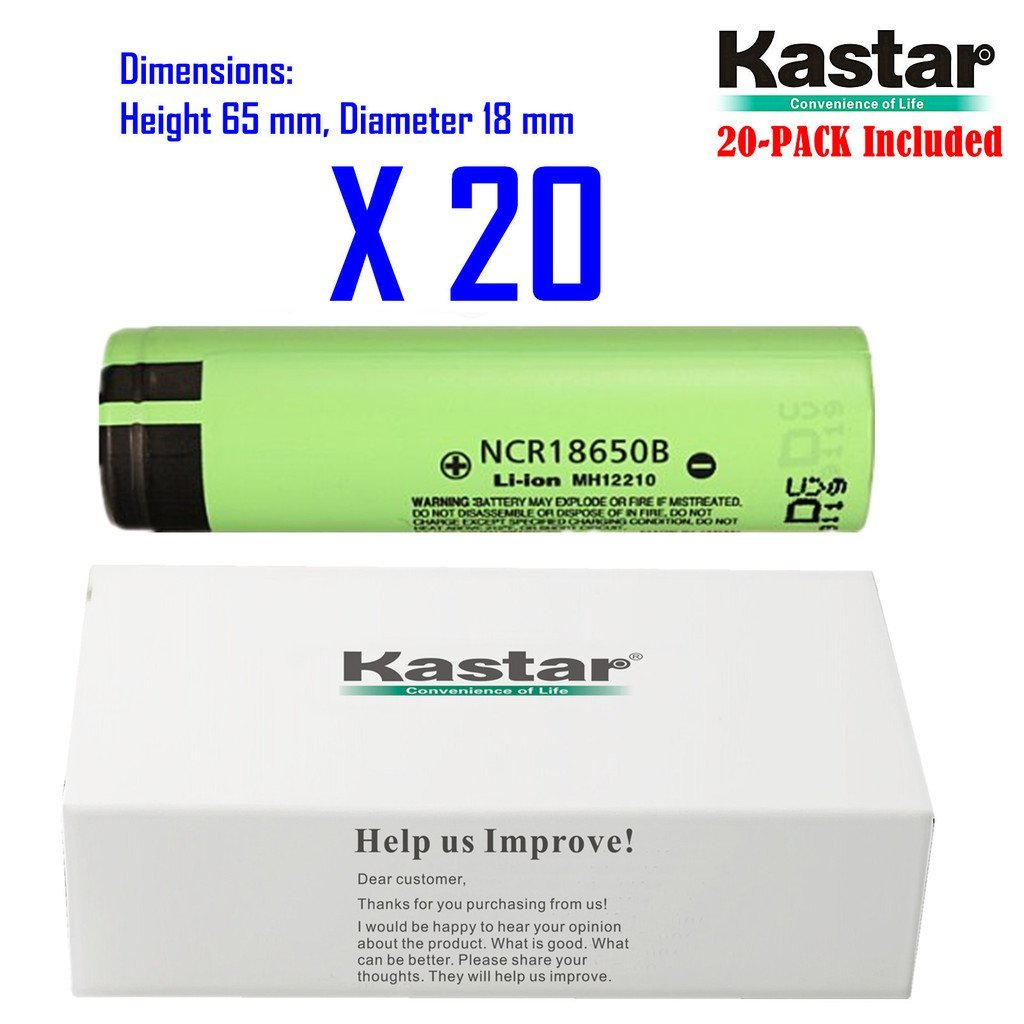 Kastar 18650 (20-Pack) NCR18650B Lithium-ion Battery, Genuine Quality Rechargeable 3.7V 3400mAh Flat Top Battery.