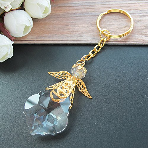 Crystal Angel Key Ring (12 Pcs) - Wedding Favors/Baptism Favors/Quinceanera Favors/First Communion Favors Baby Dedication (Gold)]()