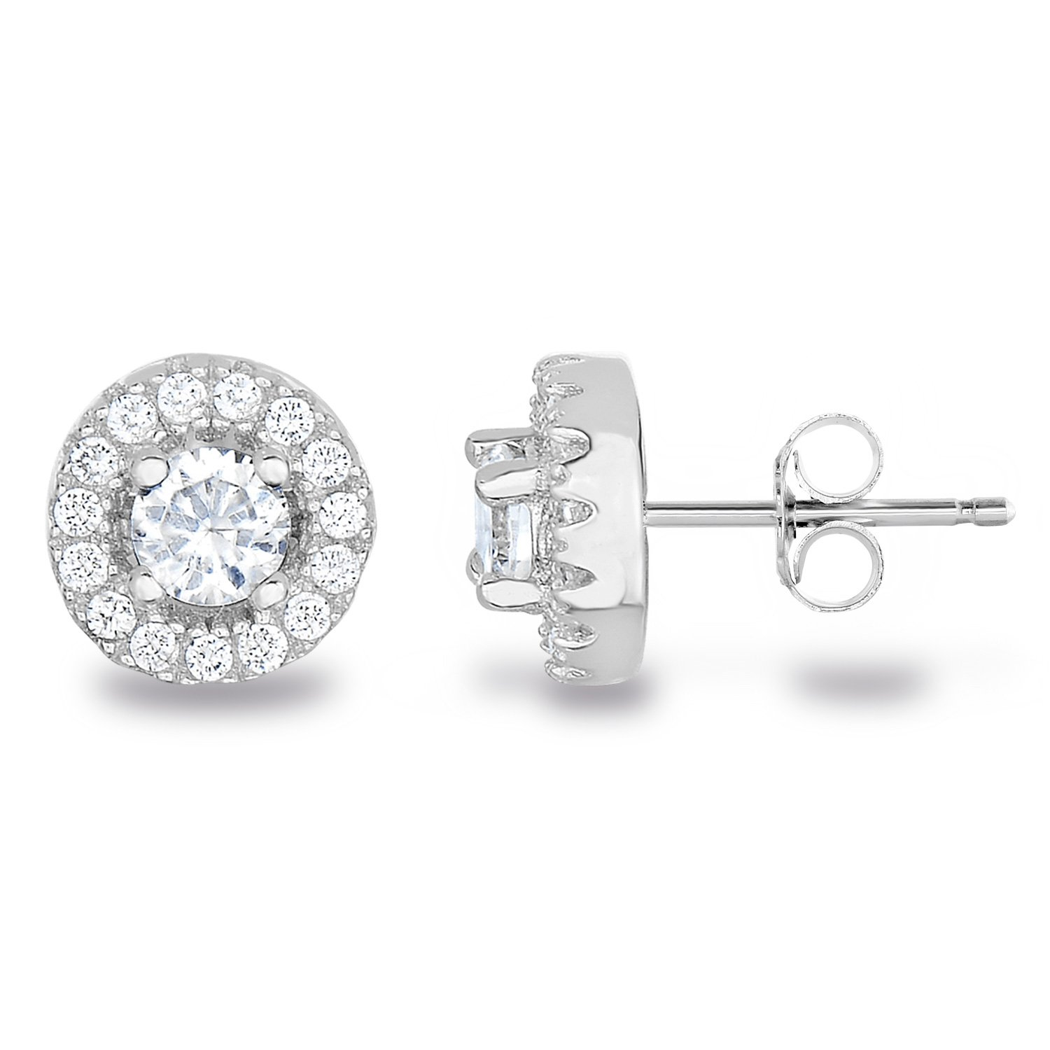 Rhodium Plated Sterling Silver Cubic Zirconia Halo Stud Earrings, Center Stone 4mm