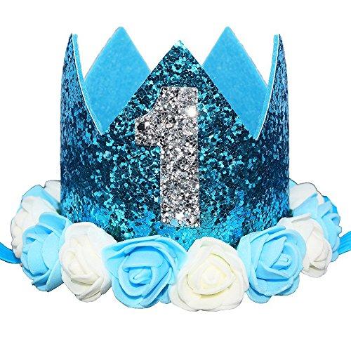 Glitter 1/2 1st 2 3 Birthday Princess Flower Crown Tiara Cake Smash Photo Prop (Sky Blue Flower 1)