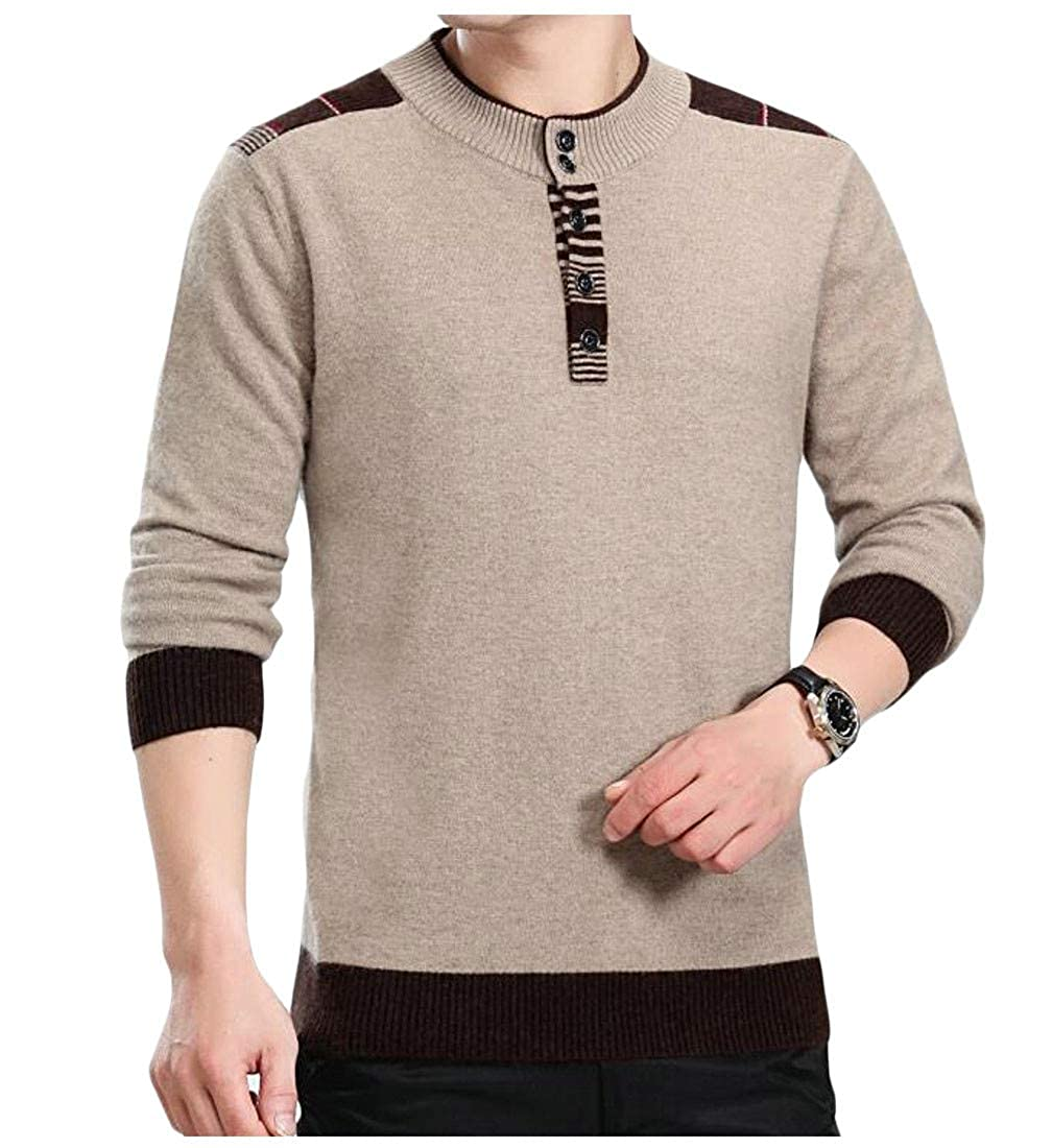 Sweatwater Men Thicken Jumper Round Neck Casual Pullover Knitted Sweater