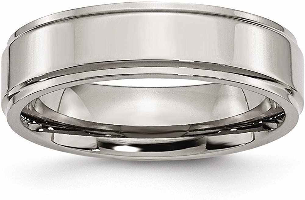 FB Jewels Solid Titanium Ridged Edge 6mm Polished Wedding Band