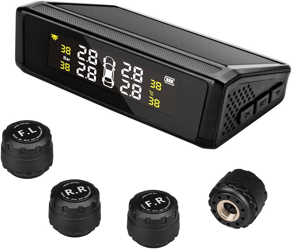Moniteur solaire de pression des pneus syst/ème TPMS sans fil universel avec 4 capteurs externes /écran LCD fonction dalarme en temps r/éel pour v/éhicules