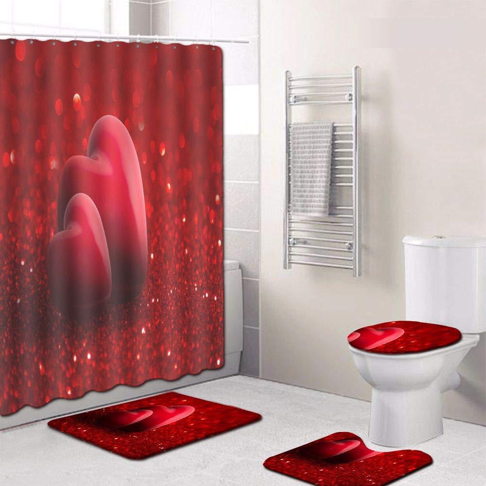 OOFFAX Wasserdichter Duschvorhang Anti-Rutsch-Bad Matte Moderne Badezimmer Teppiche Setzen Sockel Teppich Deckel Toilette Cover Home Dekor 4Pcs,1 B07GN6Q426 Duschmatten