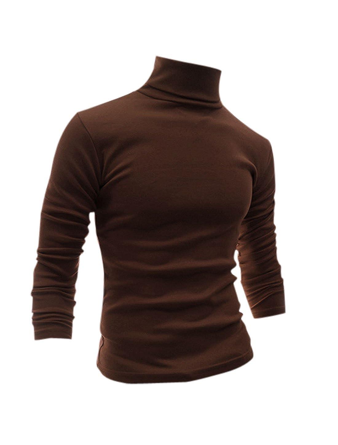Allegra K Camiseta Para Hombres De Mangas Largas Cuello De Cisne Ajuste Delgado Casual