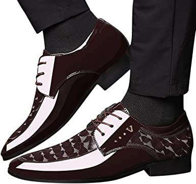 Fashion Shoebox Mens Patent Leather Tuxedo Dress Shoes Lace up Pointed Toe Oxfords