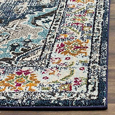 Safavieh Monaco Collection MNC243N Vintage Bohemian Navy and Light Blue Distressed Square Area Rug (5' Square)