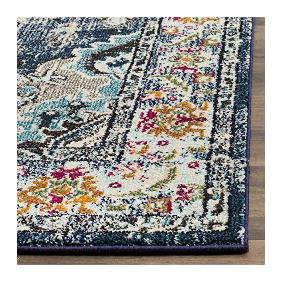 Safavieh Monaco Collection MNC243N Vintage Bohemian Navy and Light Blue Distressed Area Rug (3' x 5') - Safavieh's Monaco Vintage Boho Medallion rug with 350+ customer reviews Vintage distressed design with a stunning oversized medallion adds a fashion-forward flair to décor Stylishly versatile, this rug works in the bedroom, living room, playroom, foyer, or dining room - living-room-soft-furnishings, living-room, area-rugs - 61RZx2GPy0L. SS570  -