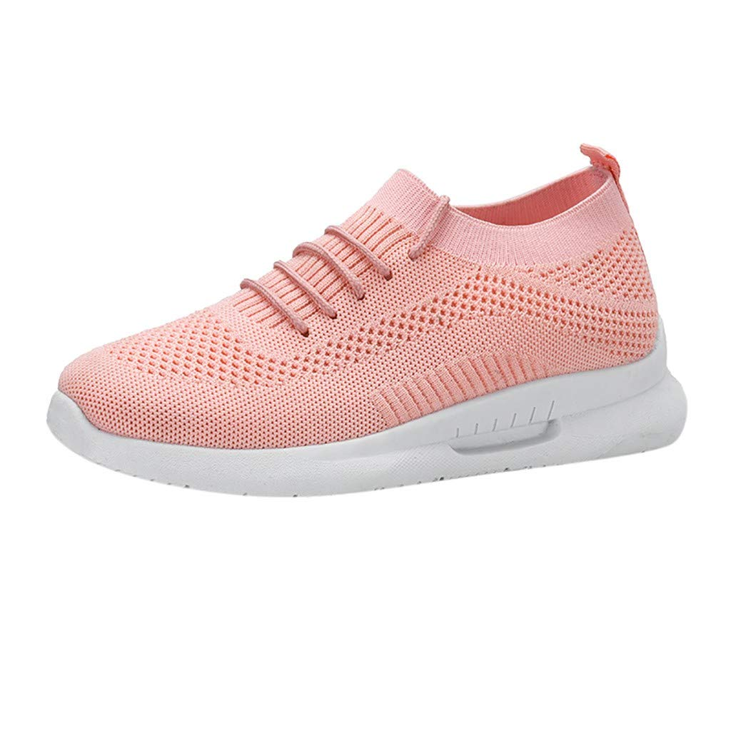 JKRED Women Breathable Sneakers,Fashion Women's Mesh Breathable Sneakers Casual Shoes Student Running Shoes Pink