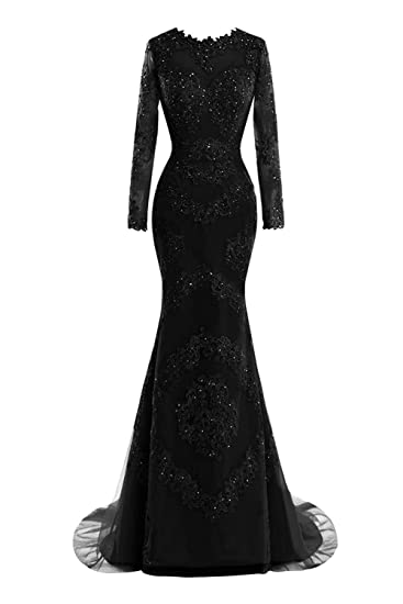 M Bridal Womens Crystals Lace Appliques Illusion Long Sleeve Mermaid Prom Dress Black US Size 2