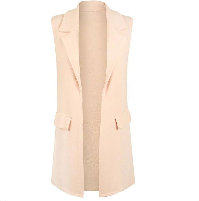 Women/'s Plus Size Sleeveless Crepe Mock Pocket Long Blazer Waistcoat Jacket Top
