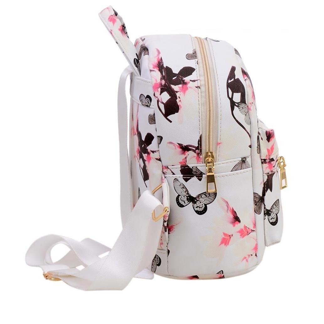 Tongshi Las mujeres Mochila Moda bolsa de cuero impreso floral ocasional