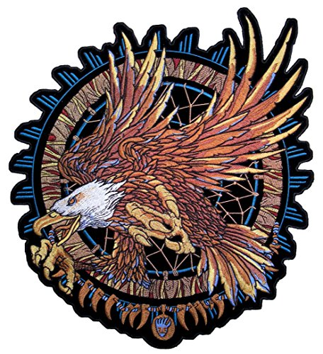 - Leather Supreme Dreamcatcher Bald Eagle Embroidered Biker Patch-Gold-Large
