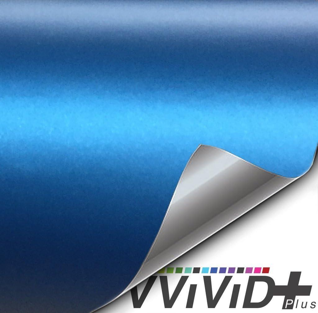 VViViD Semi-Gloss Satin Metallic Blue Automotive Vinyl Wrap Roll 6 Inch x 5ft