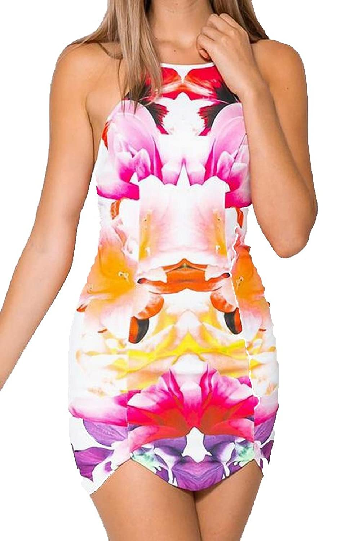 MLG Women's Floral Printed With Zipper Sleeveless Mini Dress