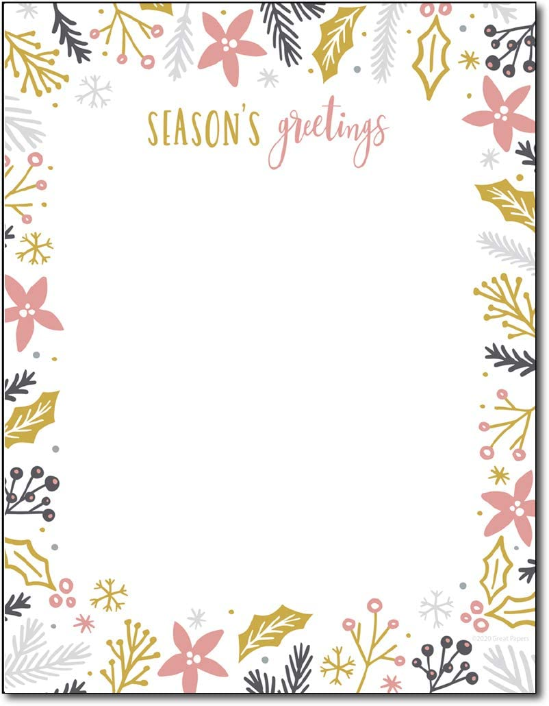 Modern Holiday Stationery Paper - 80 Sheets