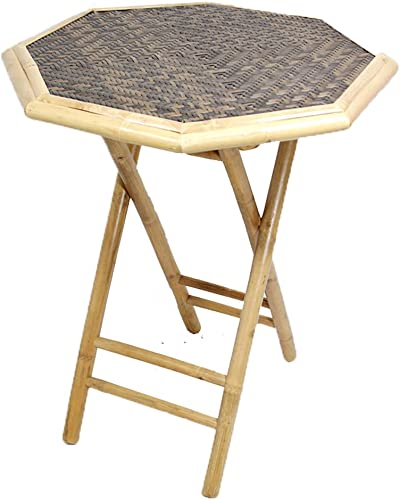 HomeRoots Octagonal Folding Bamboo End Table – Bamboo