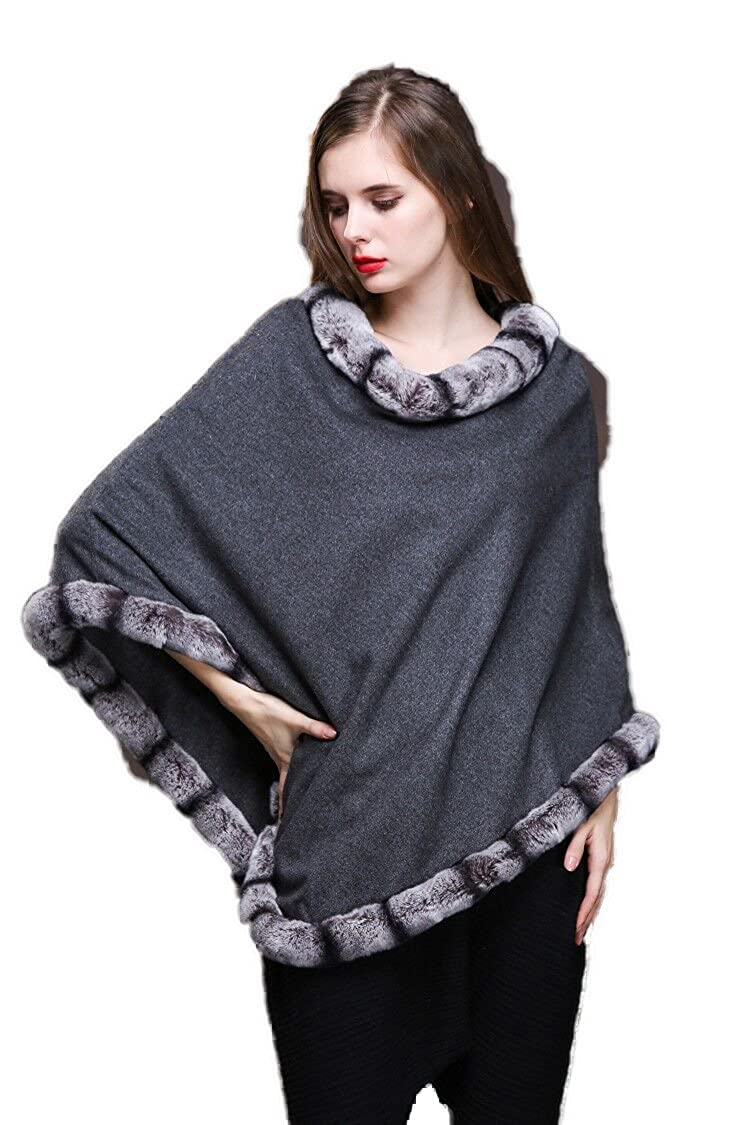 Real Cashmere Wool Poncho Real Rex rabbit Fur trimmed Cape Women Coat