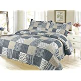 Silver Plaid Pinsonic Bedding 3 Piece Bedspread Quilt Set - King Size