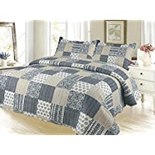 Plaid Pinsonic Bedding 3 Piece Bedspread Quilt Set - Queen Size