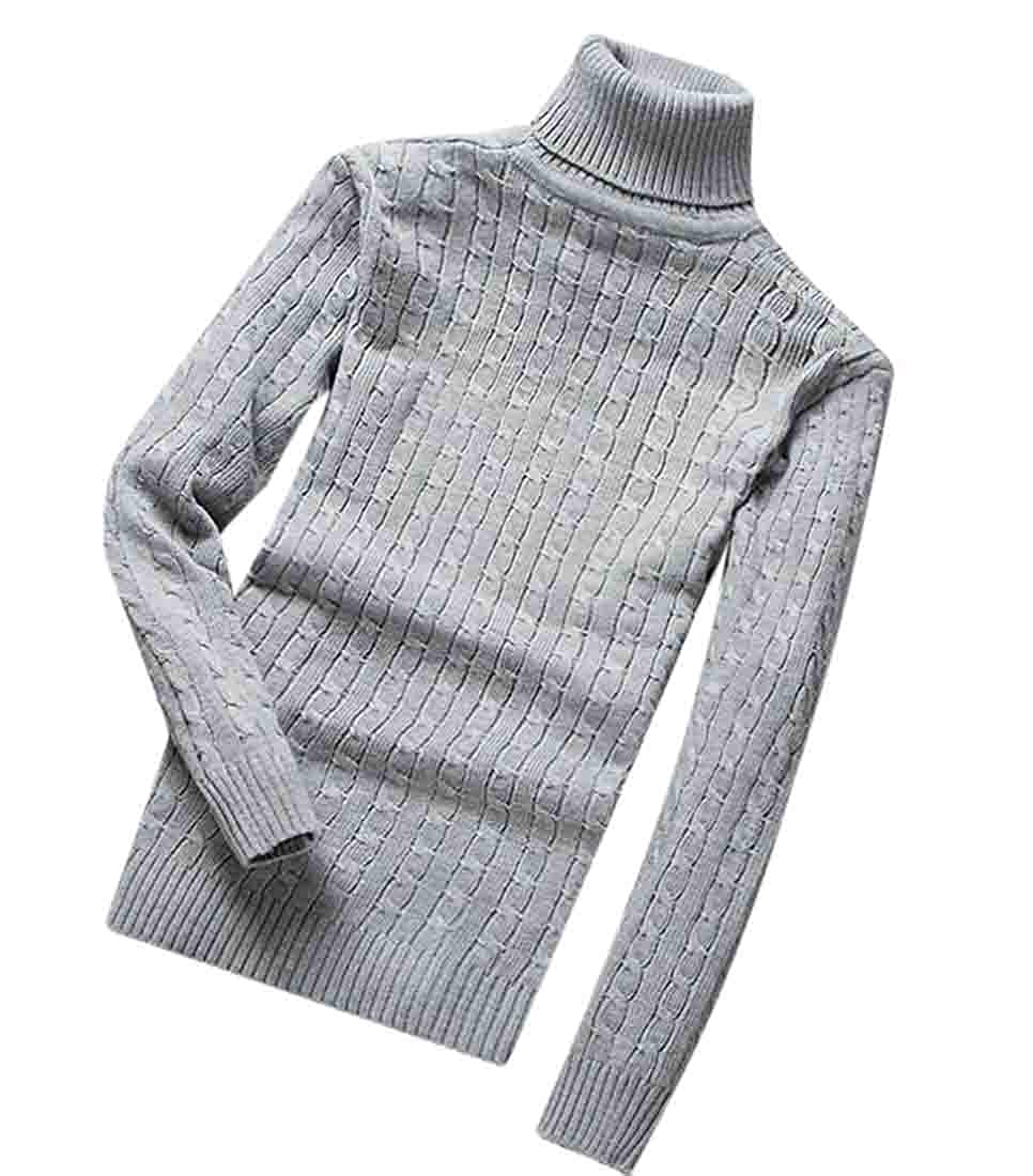 SELX Men Cable Knitted Solid Color Turtleneck Slim Pullover Jumper Sweater