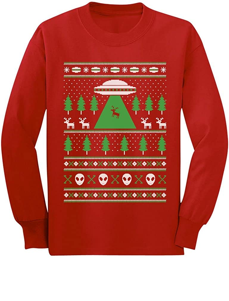 Alien Reindeer Abduction Ugly Christmas Sweater Youth Kids Long Sleeve T-Shirt GhPh3Z3gCm