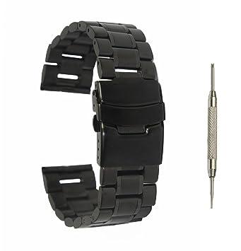 22 mm acero inoxidable correa de banda de reloj + 2 pines + Herramienta Para Pebble Time / Pebble Time Steel (Negro - B)
