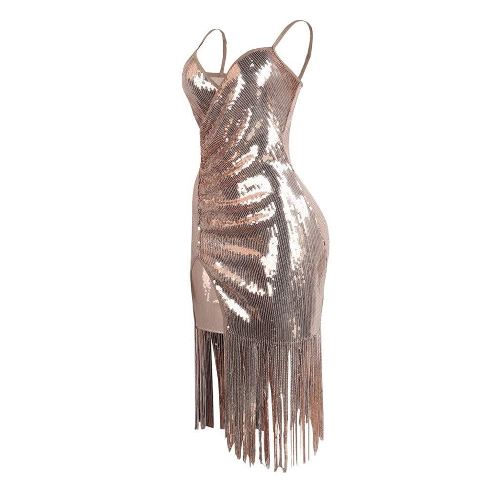 Women Dresses Sale Women Solid Sequin V-Neck Mini Dress Strap Splice Tassel Dress Plus Size Dress Party Elegant Dress Vintage Dress UK Size