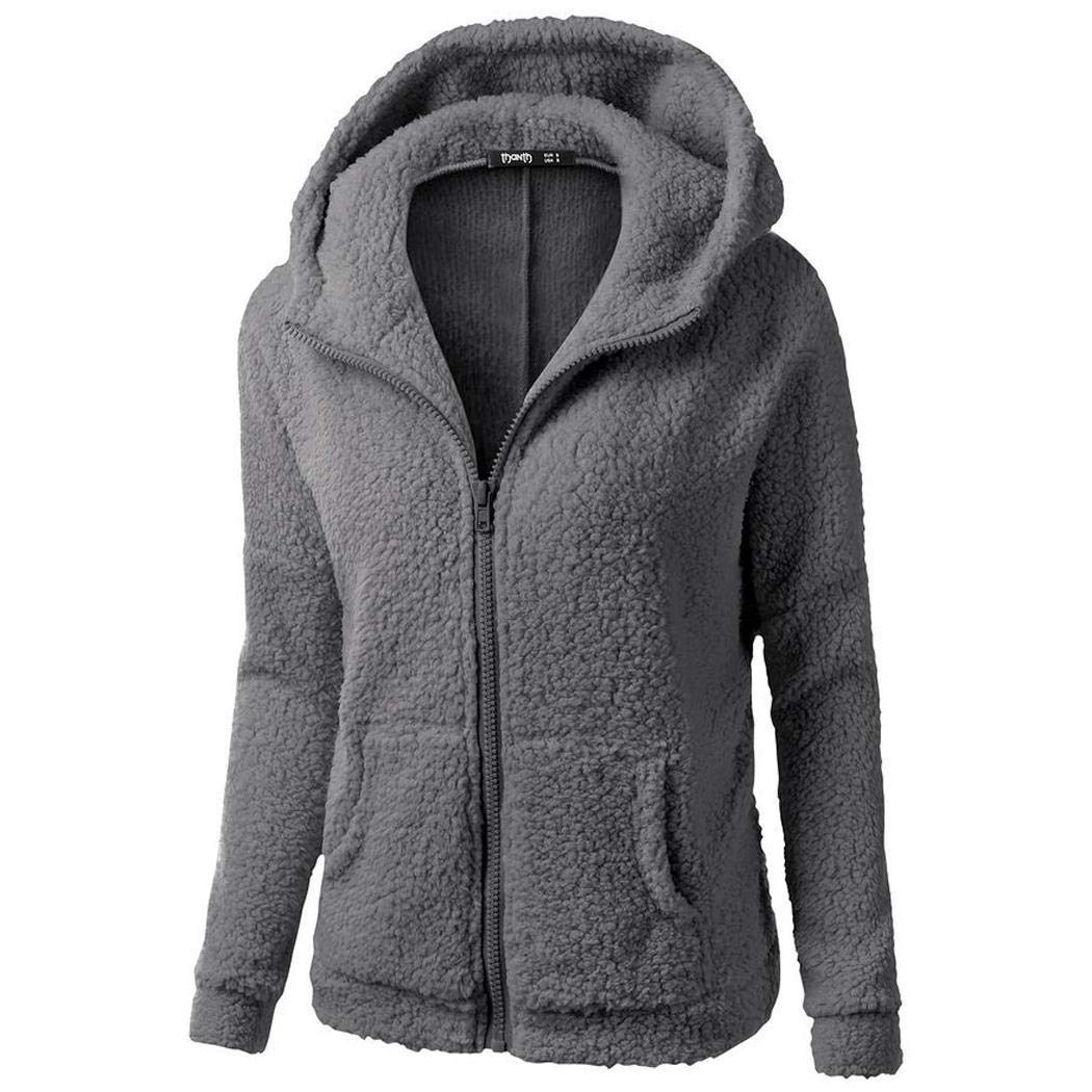 Zippem Women Fashion Solid Long Sleeve Hooded Front Zipper Plush Sweatshirt Coat Cardigans Dark Gray