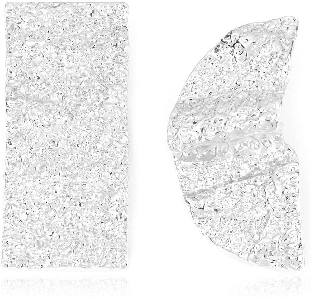 GLJIJID Pendientes Asimétricos De Moda con Textura De Aleación De Elementos Geométricos, Diseño Simple Y Generoso, Te Hacen Más Noble Blanco K