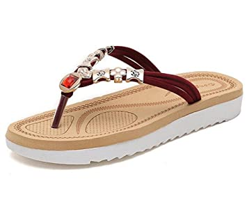 Kuki flat-toe Flip Flops Metallic Damen Beach Hausschuhe, 2, US8 / EU39 / UK6 / CN39