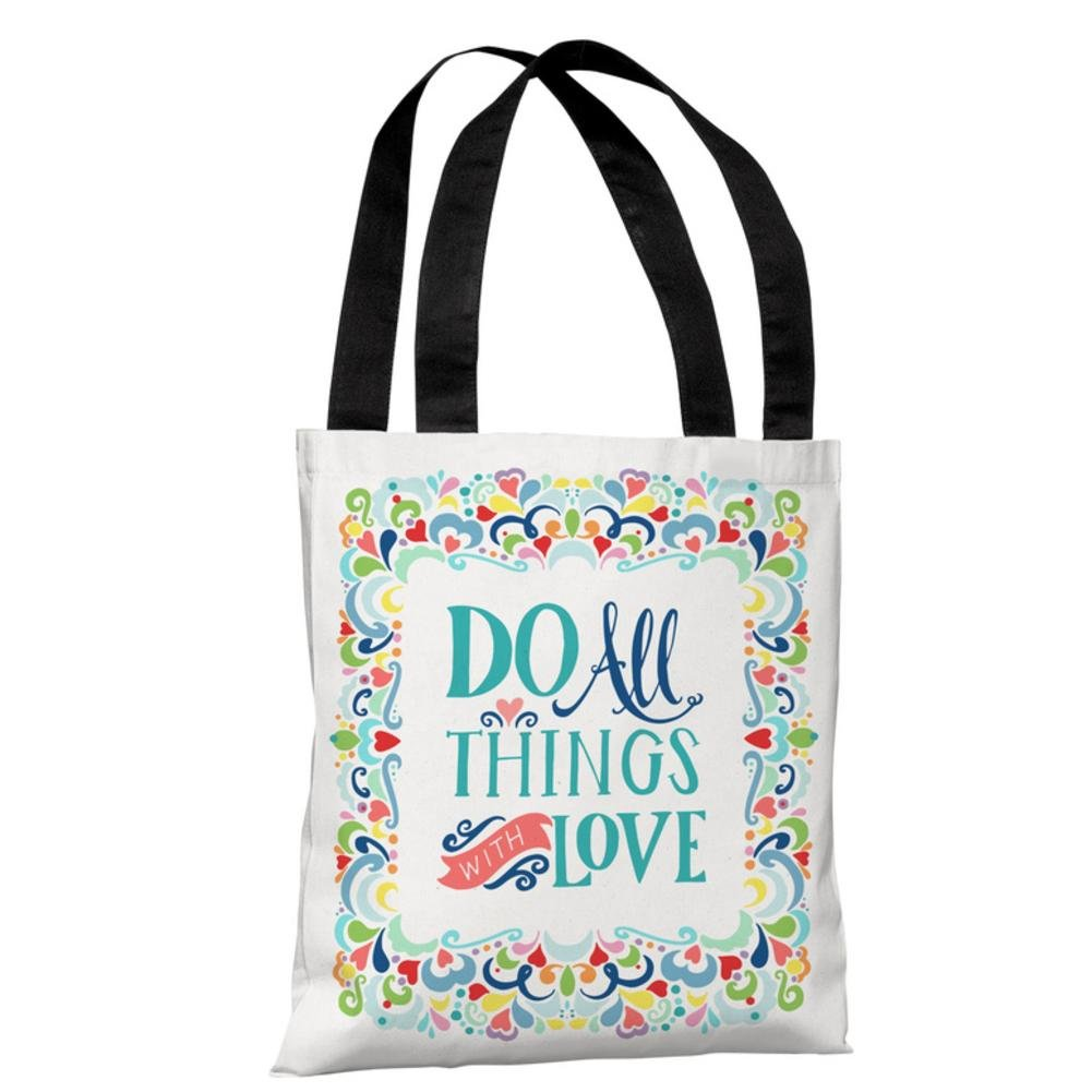One Bella Casa 74240TT18P 18 in All Things with Love Polyester Tote Bag by Pen /& Paint44; White