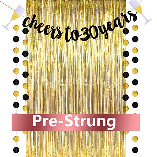 Cheers to 30 Years Banner, 30th Birthday Decorations for Women and Men, Gold Glitter Banner with Free 3.2 ft x 9.8 ft Metallic Tinsel Foil Fringe Curtains, Best Choice for Birthday Party Supplies