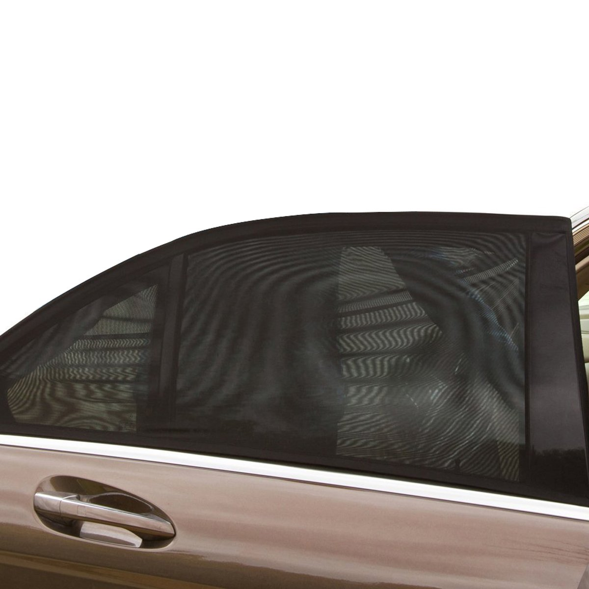 QUMAO (114x52cm) 2pz Parasole per Finestrini Laterali Auto Pieghevole Elastico 2 Strati Stoffa (Esterno e Interno), Resistente Raggi UV riflessione Luce Solare Compatibile Maggior Parte Veicoli QM-BY0004