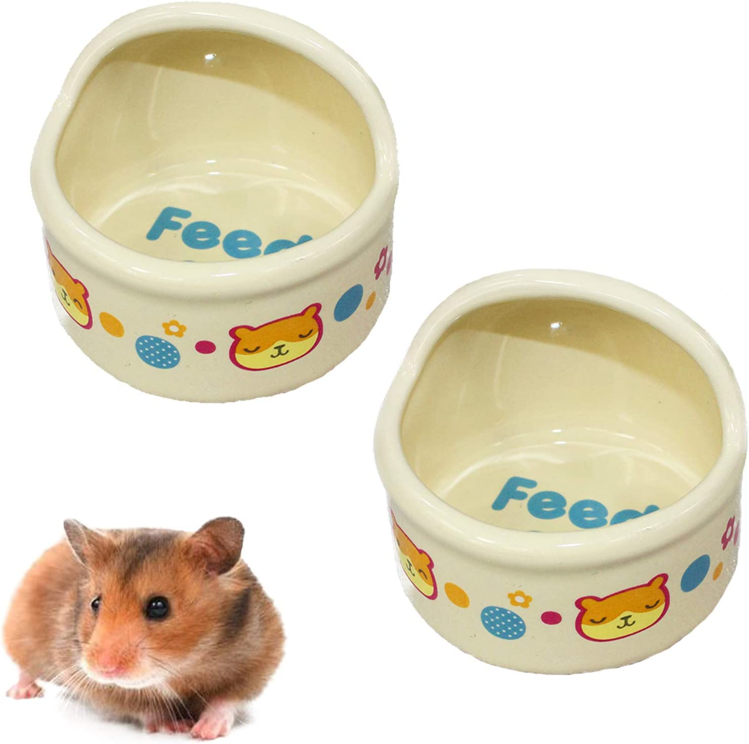 kathson Hamster Feeding Bowl,Ceramic Small Animal Dishes Food and Water Bowl for Small Rodents Gerbil Hamsters Mice Guinea Pig Hedgehog and Other Small Animals(2 pcs)