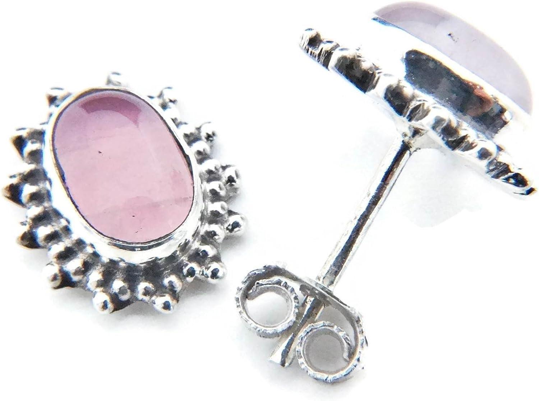 Pendientes de plata 925 con cuarzo rosa 10 mm12 mm (No: MOS 54)