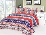 Best Striped Boho Cotton 3-Piece Patchwork Bedspreads Quilt Set Queen