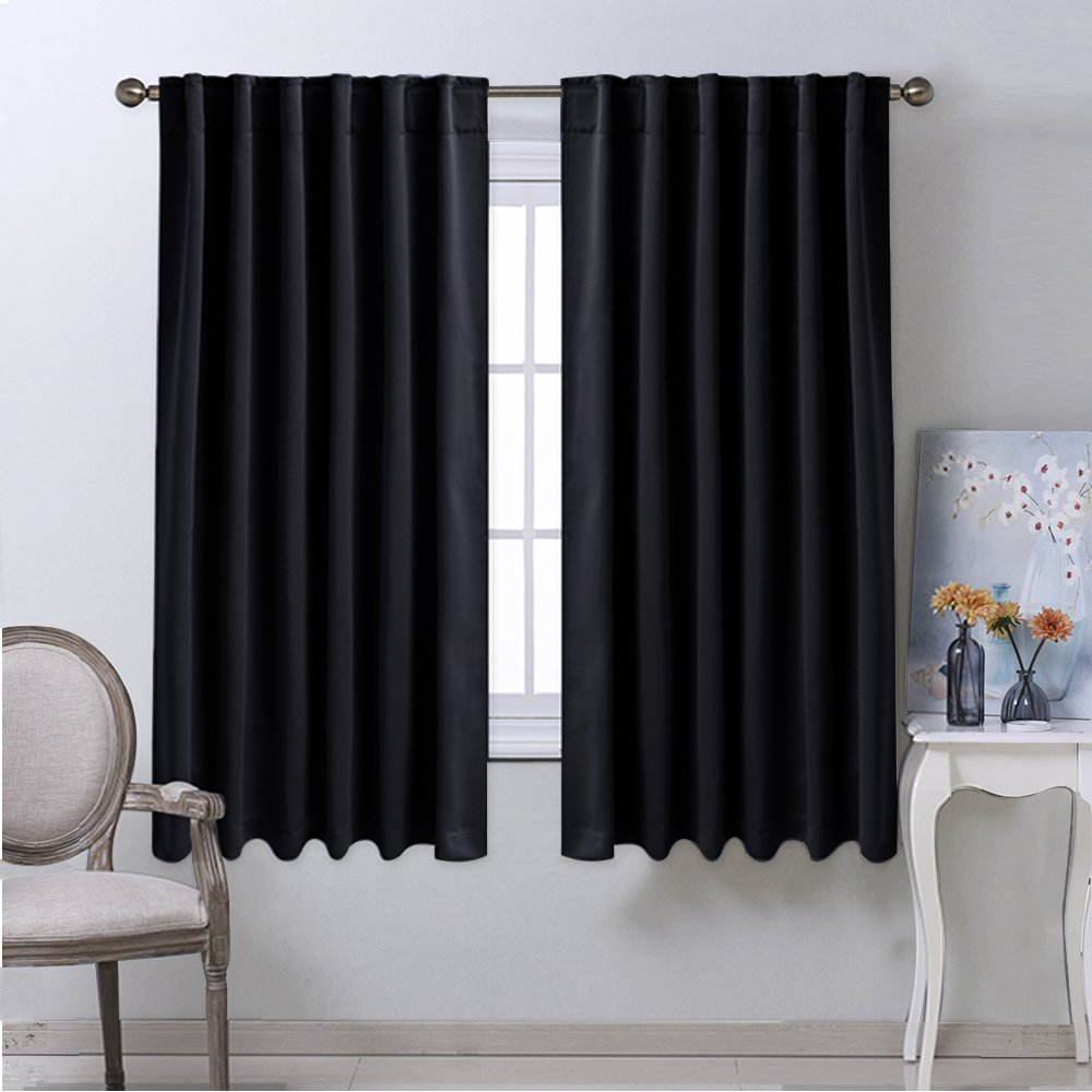 NICETOWN Blackout Curtain Blinds Window Panels - (Black Color) W52 x L63, Double Panels, Thermal Insulated Blackout Draperies for Living Room