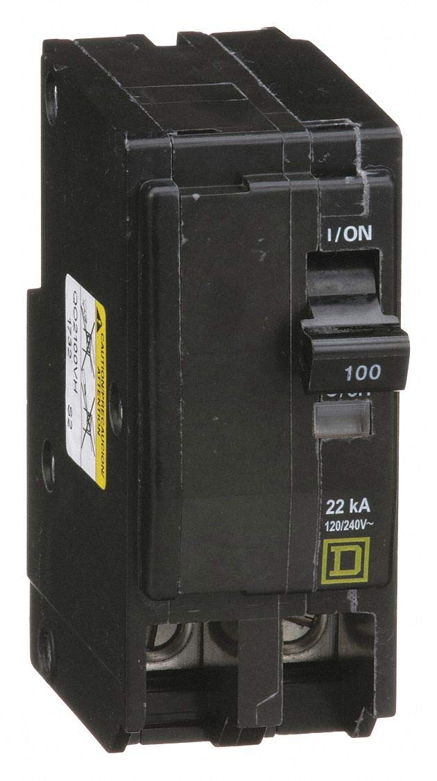 Square D Plug in Circuit Breaker, QO, Number of Poles 2, 100 Amps, 120/240VAC, High Interrupting Capacity