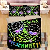 EVDAY Rick and Morty for Kids Duvet Cover Set Super Soft Microfiber Cute 3D Cartoon Design Quilt Cover Bed Set 3Piece Including 1Duvet Cover,2Pillowcases Queen Size