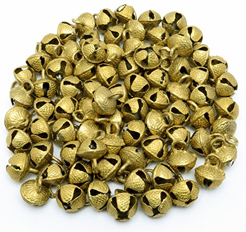 AzKrafts Lot of 80 Pcs Vintage Indian Brass Horse Sheep Camel Sleigh Bells 400 gm 19mm Ht