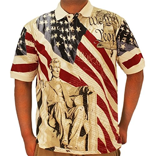 Cotton Traders Allover Patriotic Polo Shirt (XXLarge, (American Flag Polo Shirt)